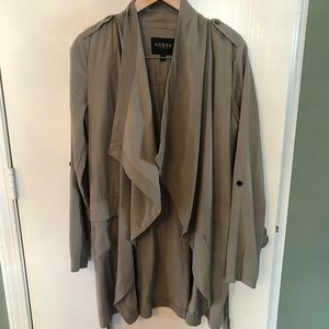 Guess trench style jacket wrap green utility Sz Sm